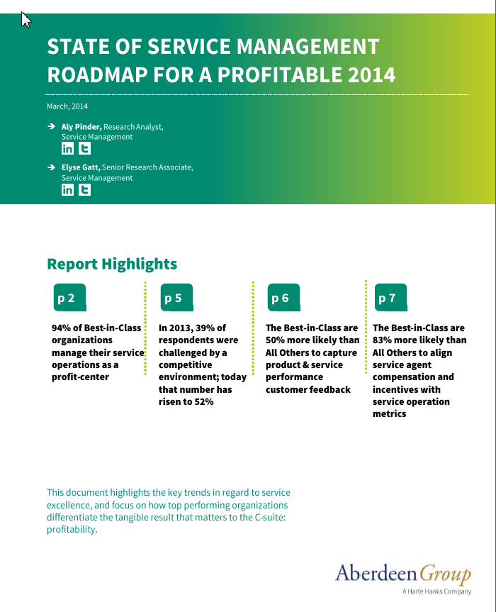 Free White Paper: State of Service Management Roadmap to a Profitable 2014