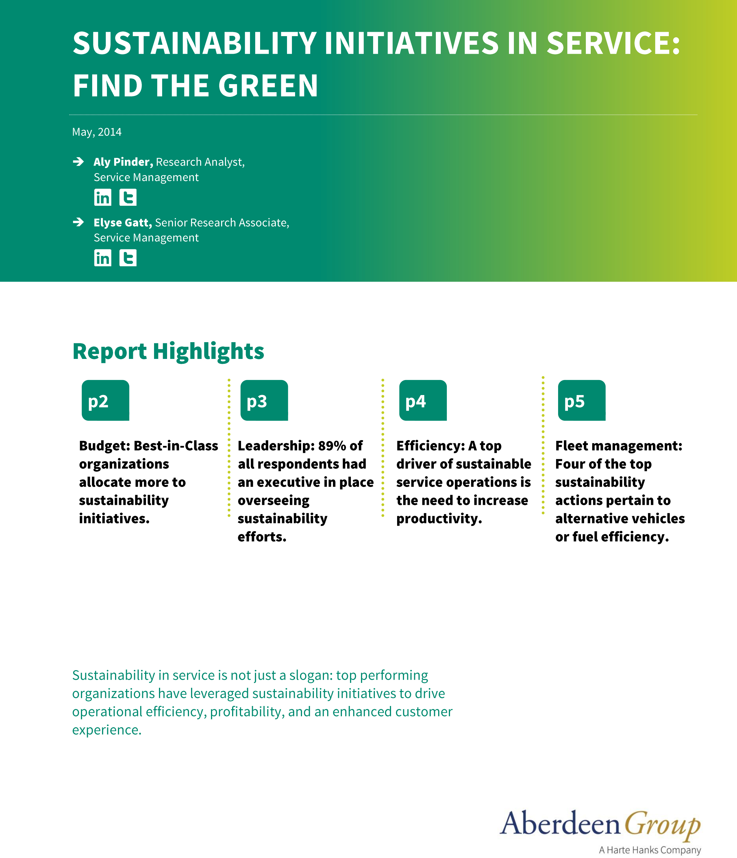 Free White Paper: Find the Green - Sustainability Initiatives in Service
