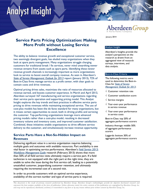 Free White Paper: Service Parts Pricing Optimization: Making More Profit without Losing Service Excellence