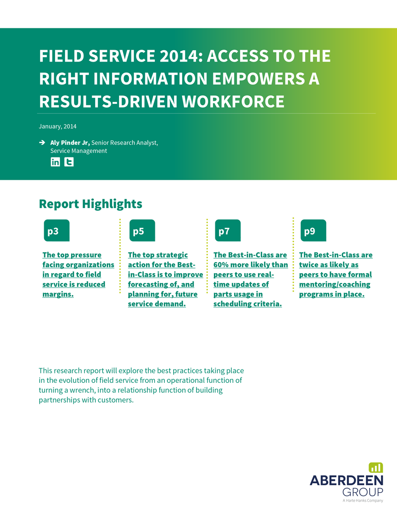 Free White Paper: Field Service 2014: Access to the Right Information Empowers a Results Driven Workforce