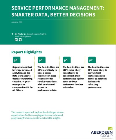 Free Aberdeen Report: Service Performance Management: Smarter Data, Better Decisions