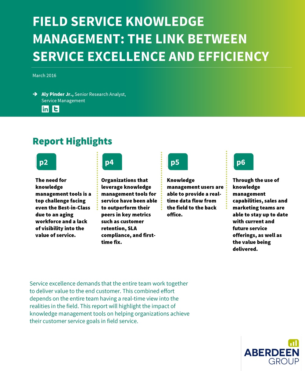 Field Service Knowledge Management: The Link between Service Excellence and Efficiency