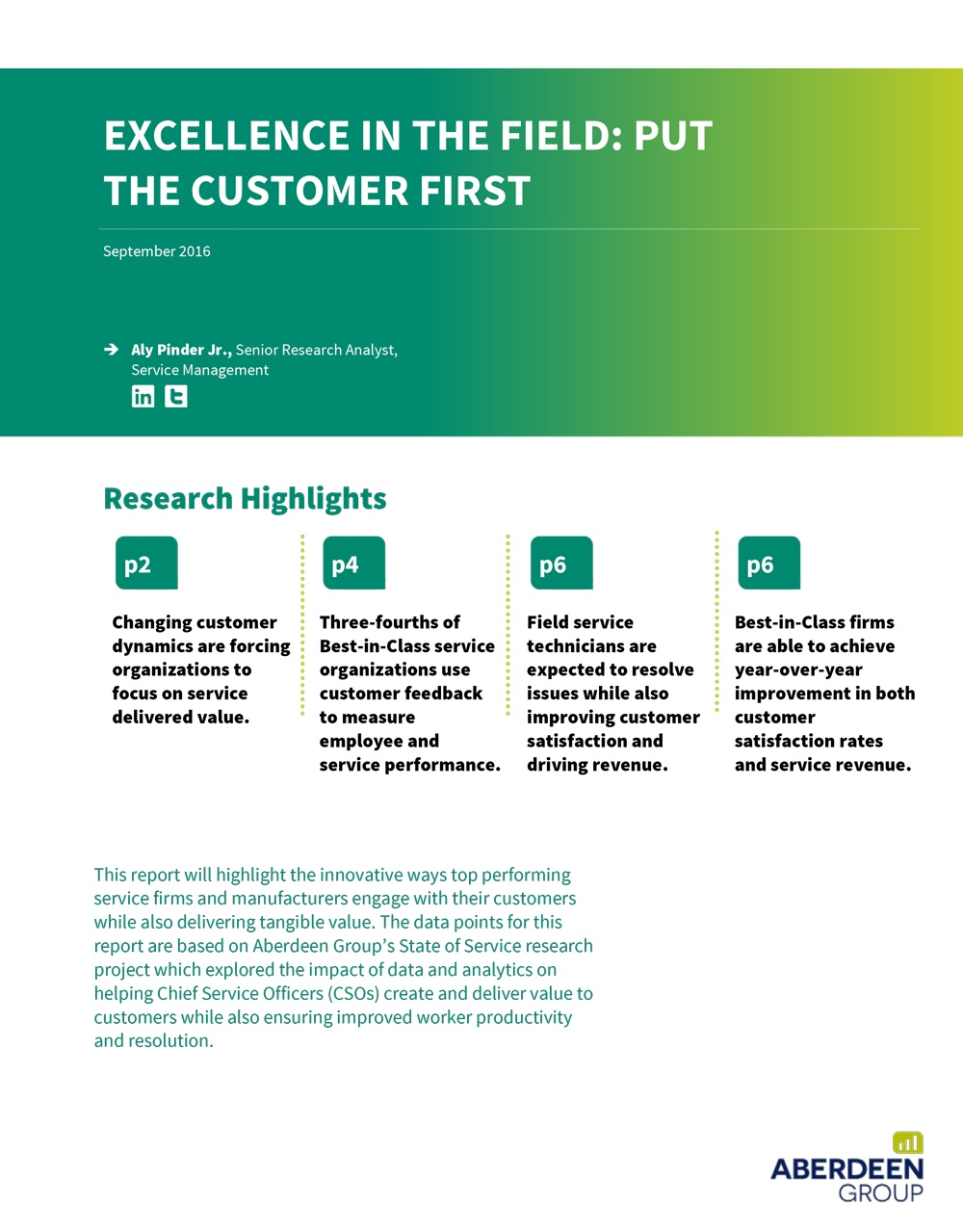 Excellence in the Field: Put the Customer First