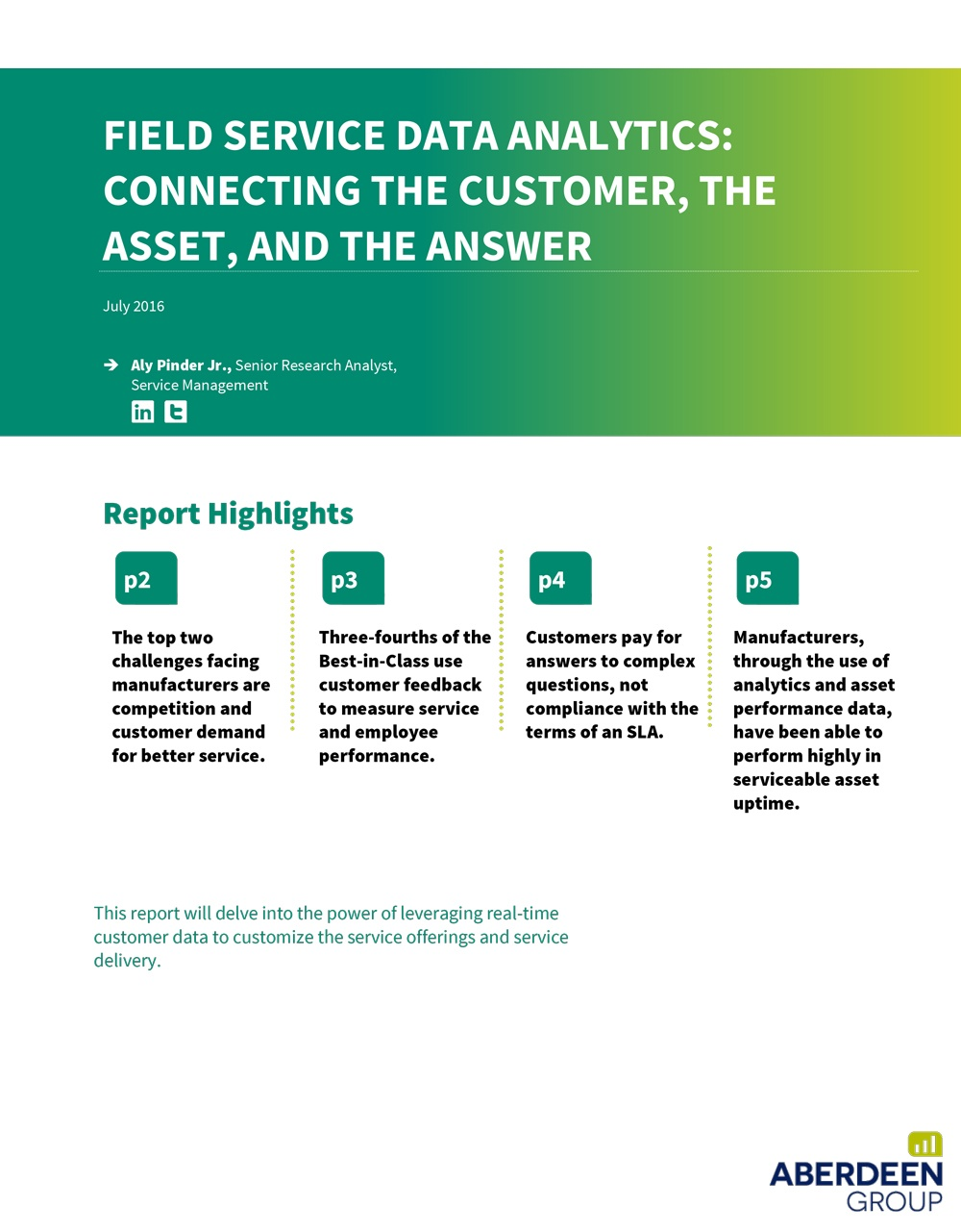 Field Service Data Analytics: Connect the Customer, the Asset, and the Answer
