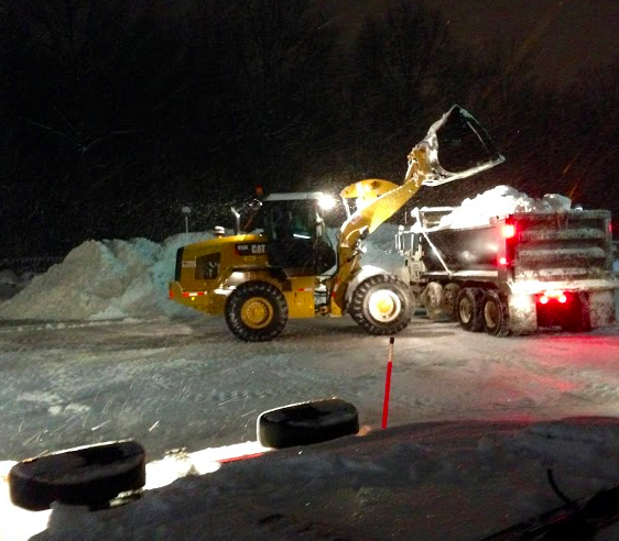 Schill commercial snow removal during a winter storm