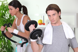 young couple working out
