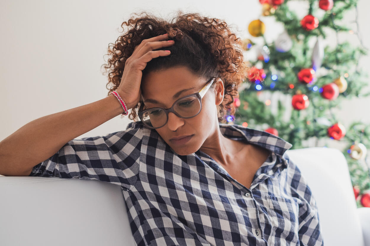 Woman stressed about holidays