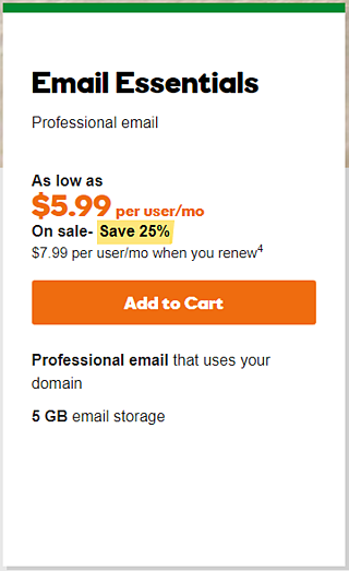 go daddy email pricing