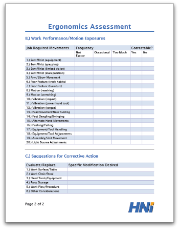 ergonomic assessment template ergonomics assessment