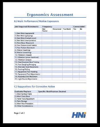 ergonomic assessment template - ergonomics assessment