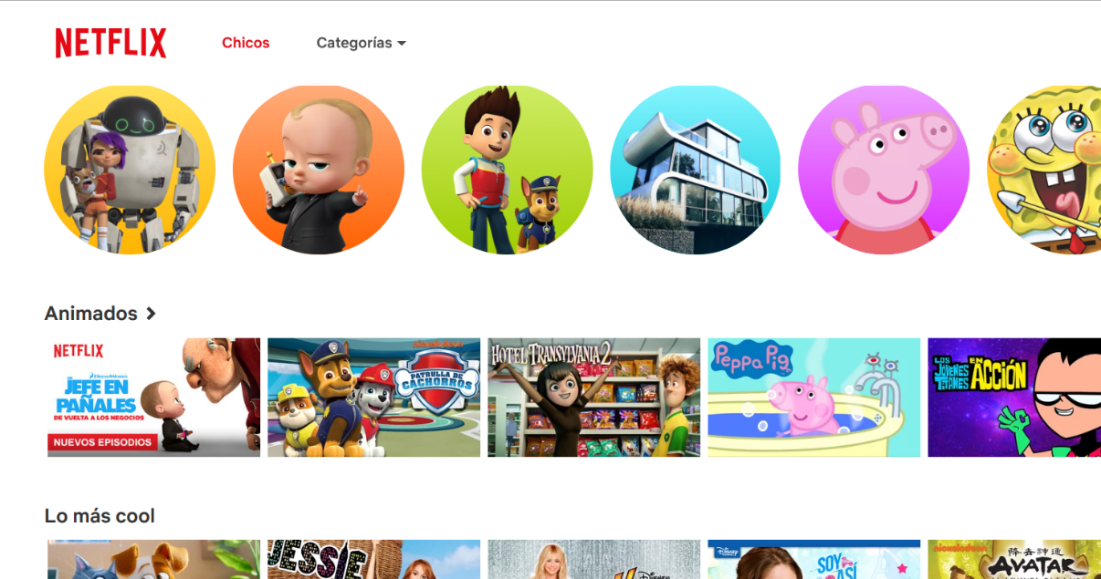 Netflix para chicos en la web