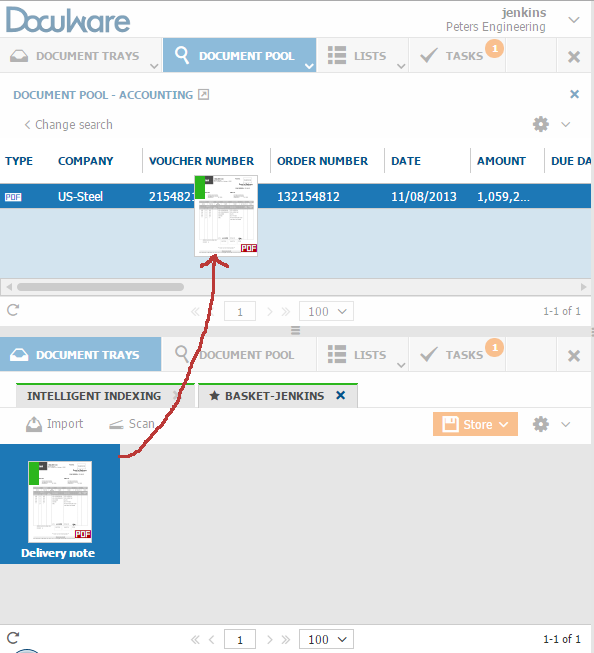 Drag a document from the document tray to an entry in a list to attach the document to one that's already archived: