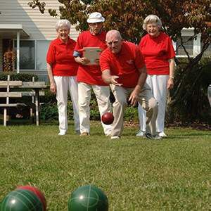 Glen Meadows residents playing bocce ball