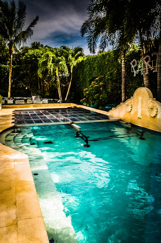 Installing a clear pool cover in a $10M home in Palm Beach, Florida