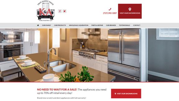 EZMarketing Develops New Website for K&A Appliance