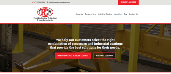 EZMarketing Develops New Website for Precision Coating Technology & Manufacturing Inc.