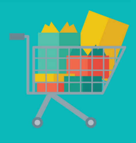 Shopping Cart Image With Teal Background