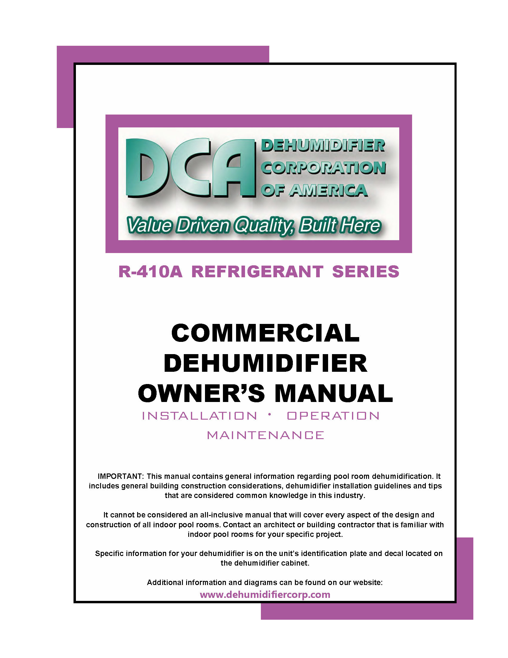 Commercial Dehumidifier Owners Manual 410A