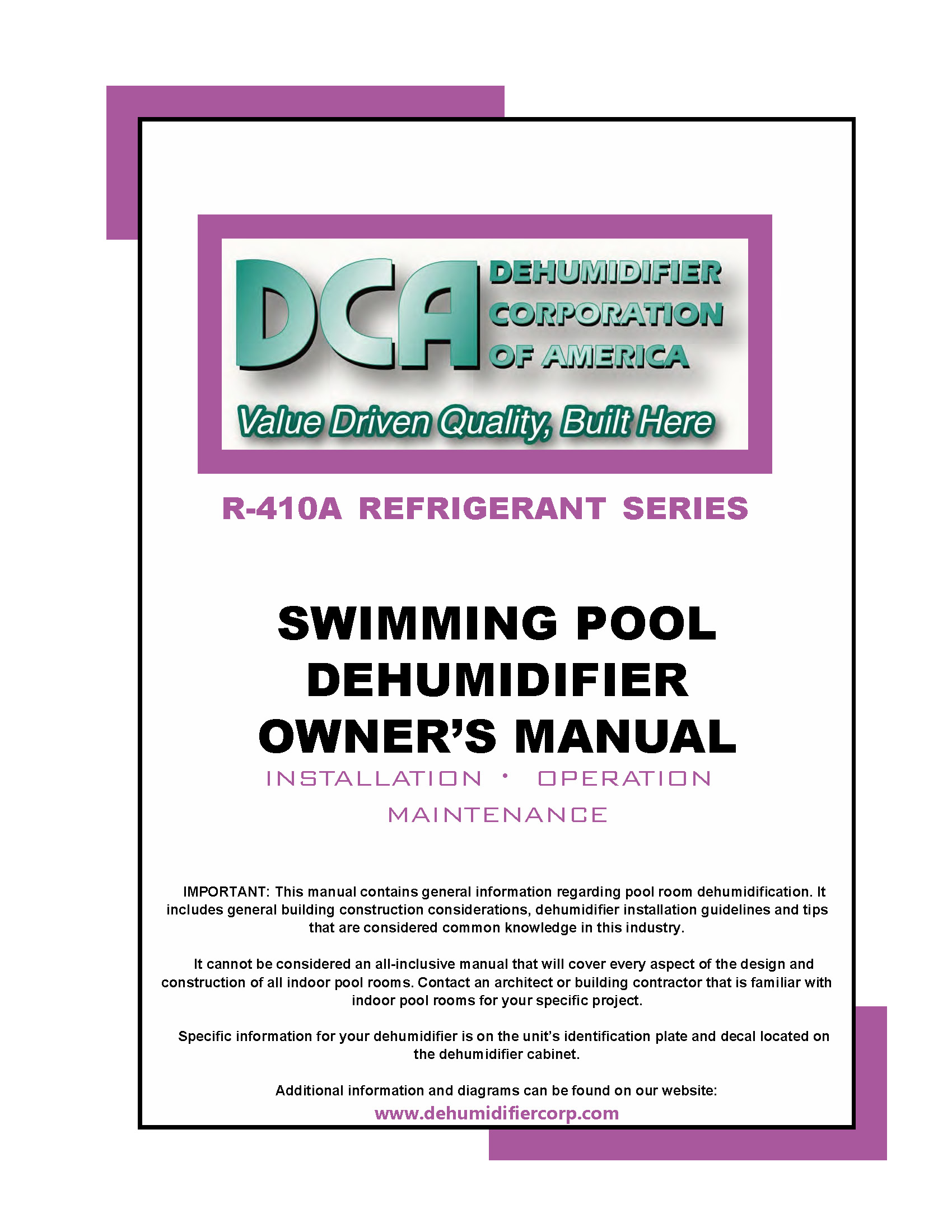 Swimming Pool Dehumidifier Owners Manual 410A