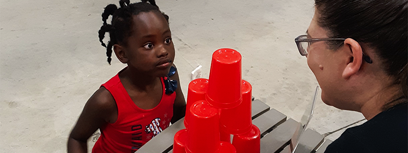 Cup Stacking Eye Contact social
