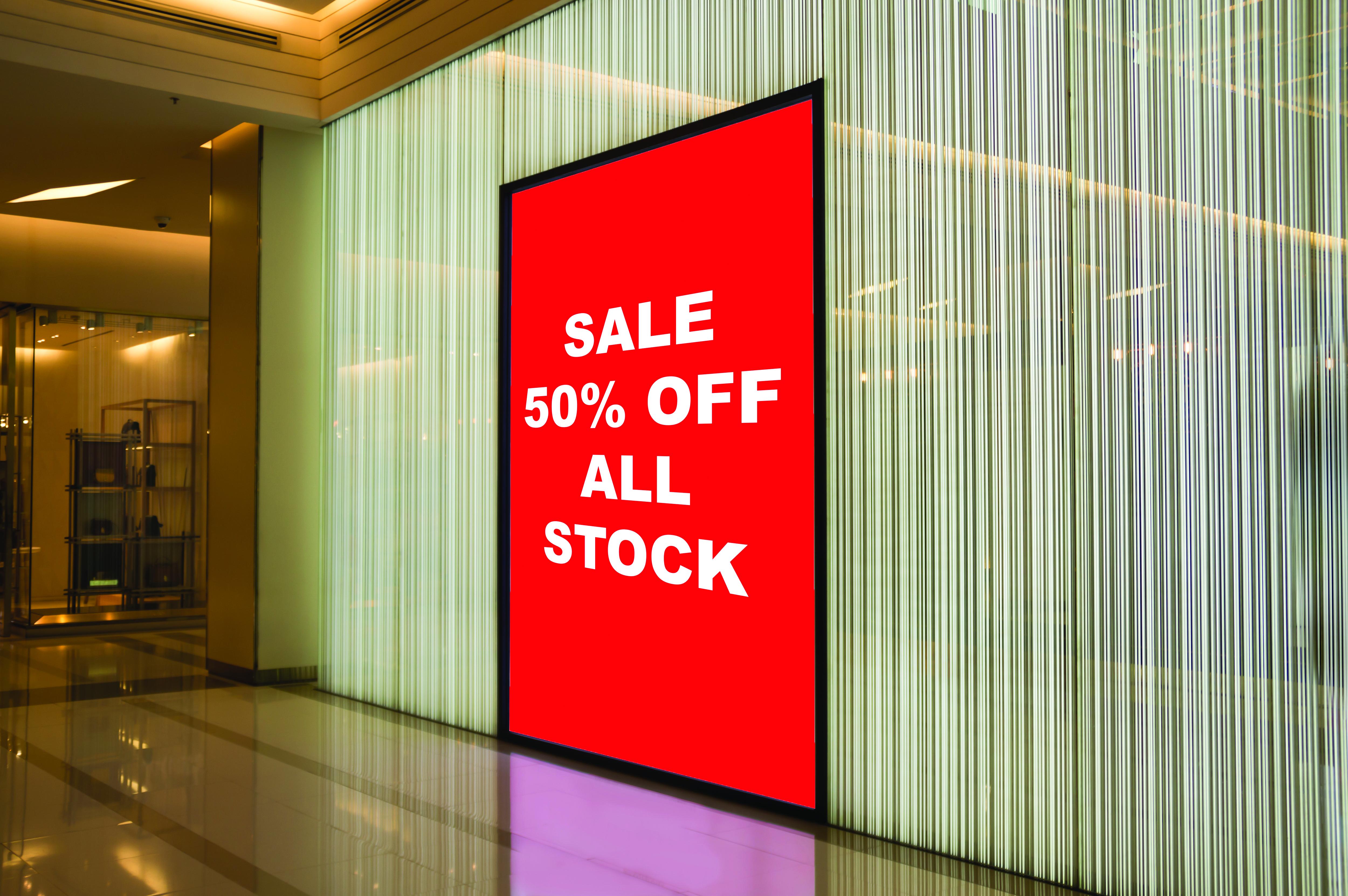 Digital signage showing store sale