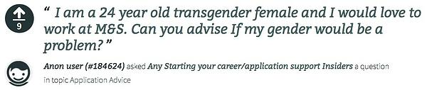 I am a transgender woman - will my gender be an issue at Marks and Spencer? Question for Insider