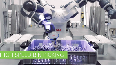 Bin picking syringes with ABB Yumi robot and Pickit 3D in a retrayer advanced robotic cell