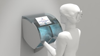 Automated hand disinfection solution using an organic disinfectant