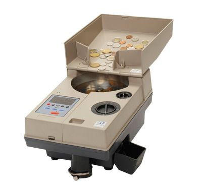 CC200 Coin Counter and Sorter Processing Mixed Denomination Coins.