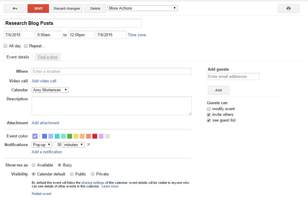 Time Blocking Google Calendar - Add Event