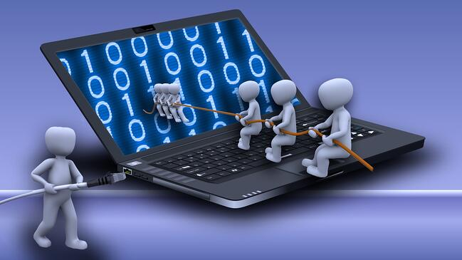 Laptop and workers illustration