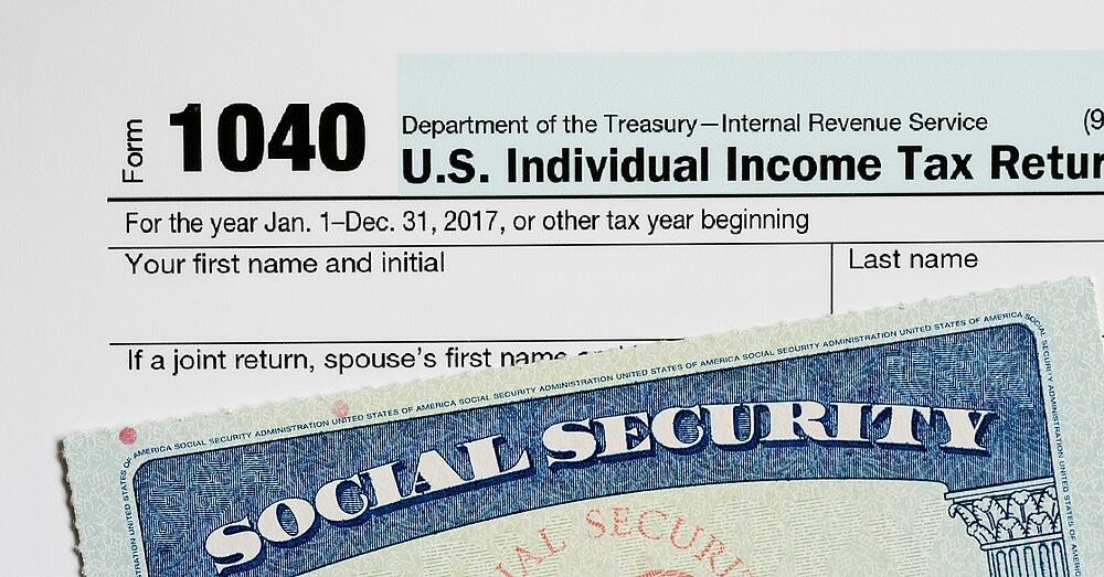 Image of 1040 form and a social security card.