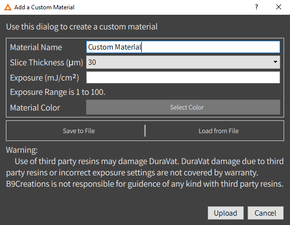 Custom Materials Settings in New Software update for b9 core series 3D printer