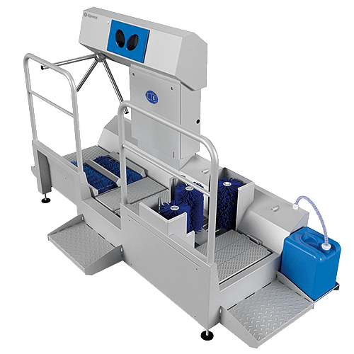 The DZW-HDT-EDSW is a hygienic entrance which cleans the soles and disinfects the hands at the same time Elpress