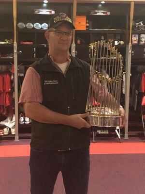 Nats trophy with Victory Van president
