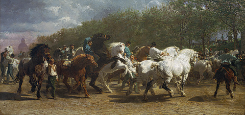 Horse Fair, Rosa Bonheur.  Oil on canvas, 1853 - 1855. 8' x 17' (approx.).  Metropolitan Museum of Art, New York.