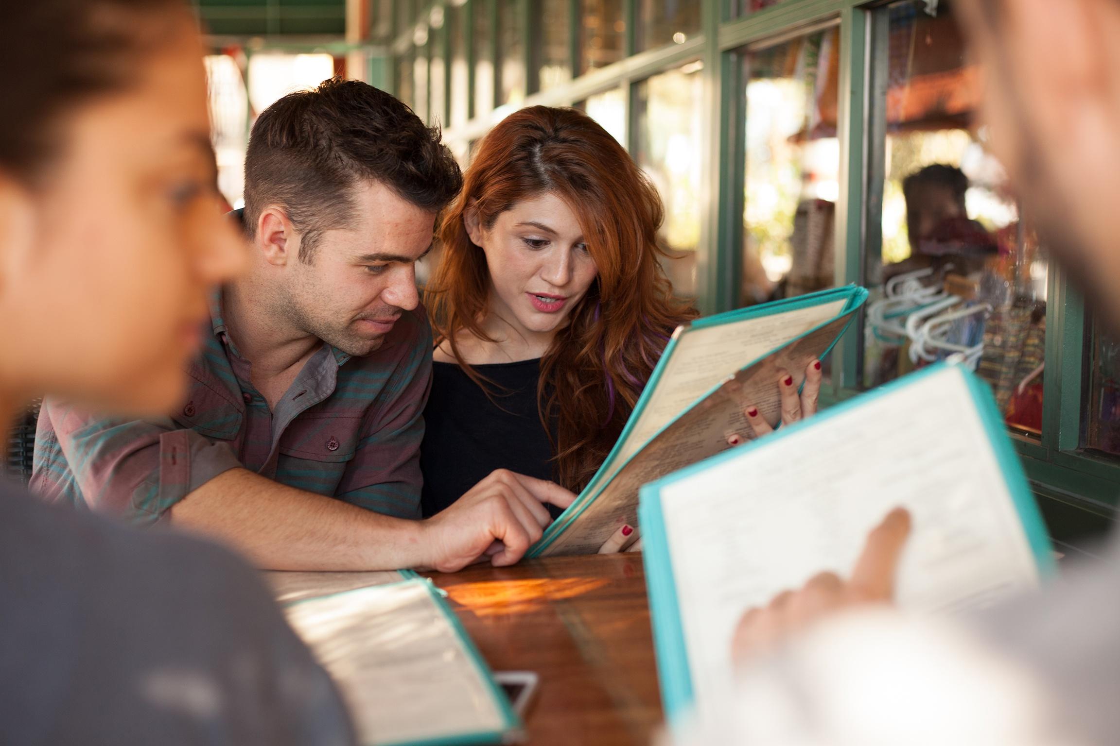 people with menus background