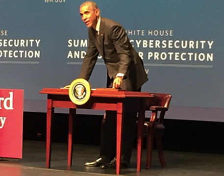 Obama speaking at the Cyber Security Summit