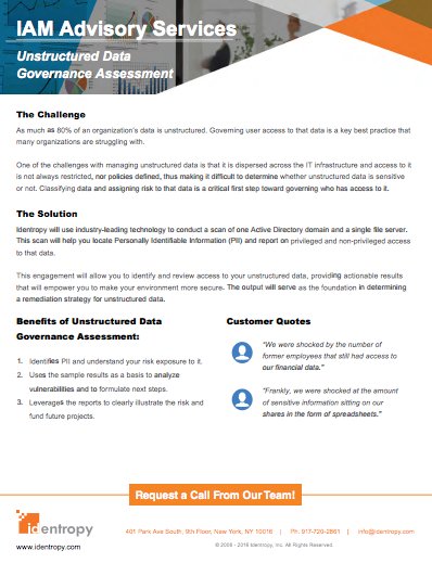 Unstructured Data Governance Assessment Data Sheet
