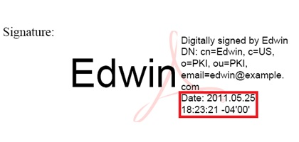 As Well The Date And Time When Signature Was Added Signed To Document This Is Stamp 20110525 At 182321 Of