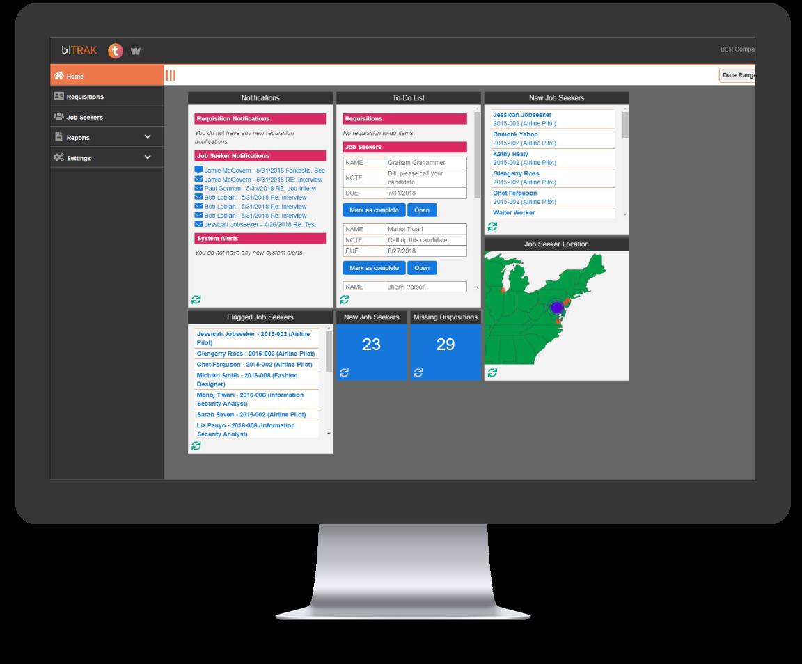 balanceTRAK Dashboard showing Main Menu Screen