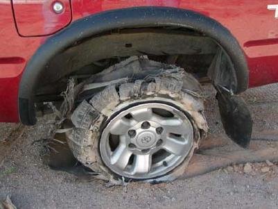 Tire blowout.