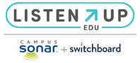 Campus Sonar and Switchboard logos equal ListenUp logo