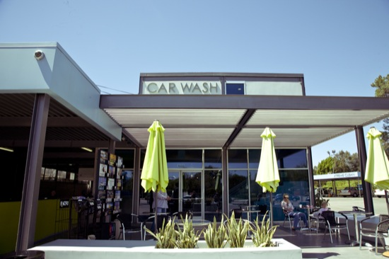 modern car wash waiting area