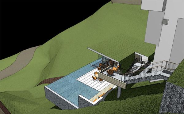 A Modern Pool Pavilion On A Steep Hill