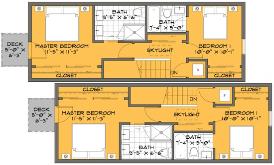 A skinny solution for small house floor plans for Skinny house plans