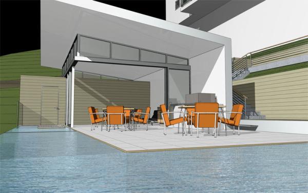 Modern pool pool house hollywood hills modern for Pool pavilion plans