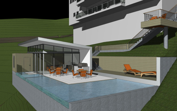 Modern pool pool house hollywood hills modern for Pool pavilion designs