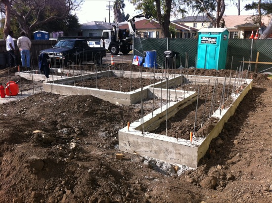 Foundation Construction On Small Lot Subdivision Project