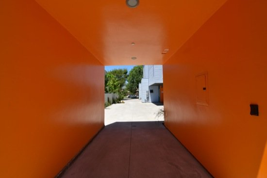 small lot modern home orange carport